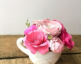Pink Paper Flower Arrangement in Milk Glass Coffee Cup - Teacher Appreciation Gift - Coffee Lover Gift