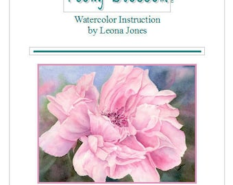 "Tutorial Painting of ""Peony"" How to Paint Watercolor, Instant Download"