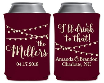 Personalized Foam Can Coolers Custom Beer Holder Insulator Rustic Wedding Favors | I'll Drink To That (1A) Hanging Lights | READ DESCRIPTION