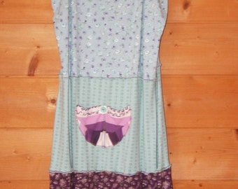 Funky Boho Upcycled Womens Designer Nightgown or Summer Dress Turquoise & Purple with Pocket + Vintage Button MEDIUM-LARGE
