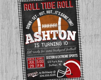 Alabama Football Birthday Invitation | Houndstooth Football Birthday | Tailgate Party Invitation | Birthday Invitation | Digital Invitation