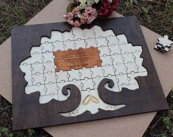 Wedding guest book alternative Wood Puzzle  wooden guestbook alternative Wooden Guest Book Puzzle Custom guestbook puzzle Rustic guestbook