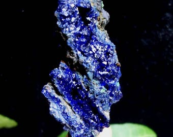 Sparkling Azurite crystals with Green Malachite from Liufengshan Anhui China B4468