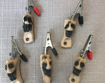Pack of 5 - Handmade Unique Clay Roach Clips Smoking Accessory