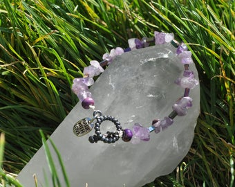 Amethyst and Purple Iridescent Beaded Bracelet
