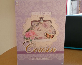 Cousin Birthday Card - luxury quality bespoke UK handmade