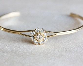 Crystal Flower Cuff Bracelet
