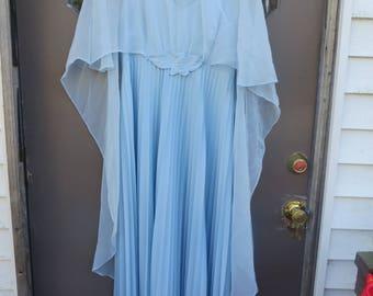 1970s baby blue sheer chiffon  nylon   accordion pleated and agel wing capelet long maxi dress    sz 15/ 16
