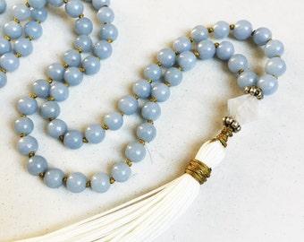 Angelite Mala Necklace   Mala Beads   108 Mala Beads   Mala Jewelry   Prayer Beads   Meditation Beads   Boho Jewelry   Angelite Jewelry