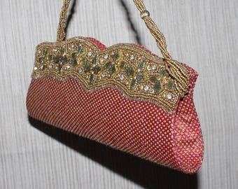 Vintage Gold Red Beaded Stoned Evening Clutch