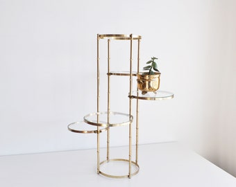 Vintage Mid Century Modern / Hollywood Regency Gold-Brass Plant Stand // Multi-Plant Stand // Tiered Stand
