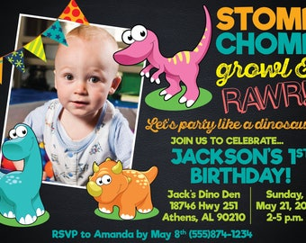 Baby Dinosaur Birthday Invitation