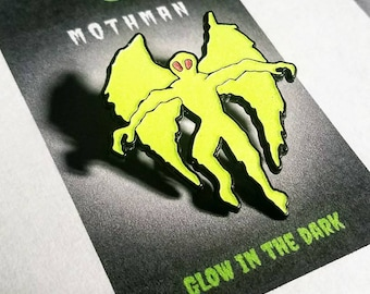 Glow-in-the-Dark Mothman // soft enamel pin