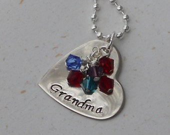 Custom Hand Stamped Personalized Grandmother's Necklace