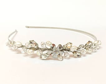 Wedding Headband Silver Wedding Bridal Headband Pearl Headband For Wedding, Wedding Headpiece Pearl Headband Bridal Hair Accessories Wedding