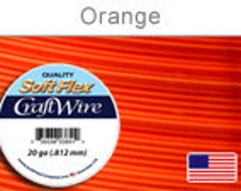 20 Gauge Orange Silver Plated Wire, Soft Flex, Tarnish Resistant,  Round, Supplies, Findings, Craft Wire