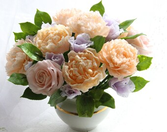 Home Decor Floral Arrangement,Real touch roses,Real touch peonies,Clay Flower,Cold porcelain flowers,Flower centerpiece,Real touch flowers