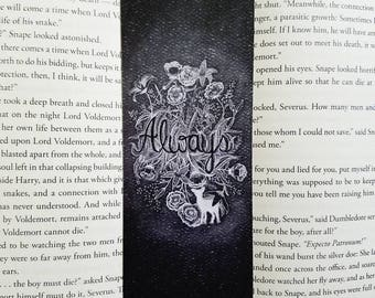 Always with Lily bookmark- Harry potter, Severus Snape, Hogwarts, patronus, doe, you are so loved