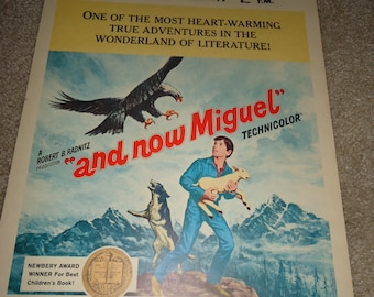 Original 1966 And Now Miguel Window Card Movie Poster, Newbery Award, Childrens Book, Guy Stockwell