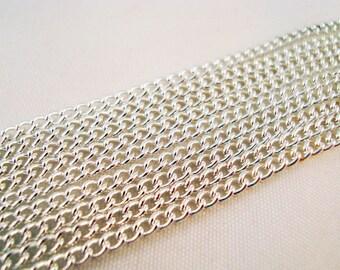 CH07 - 1 M chain link 2mm X 3 mm silver curb chain