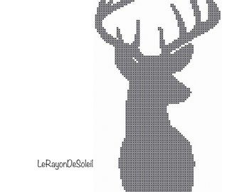 Modern Cross stitch pattern deer head to the right silhouette.