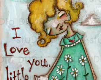 Print of my original Dog Lover mixed media painting - LIttle Dog Love - 5 x 7