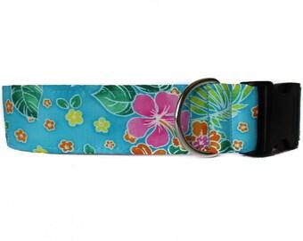 Hawaiian Dog Collar, 1.5 Inch Dog Collar, Tropical Dog Collar, Large Dog Collar, Turquoise Dog Collar, Beach Dog Collar, Wide Dog Collar