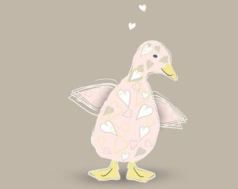 A Big Kiss for Little Miss - Cute and Quirky Pink Duckling Card (New Baby, Baby Girl, First Birthday, Baby Shower, Christening)