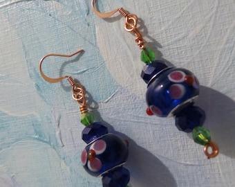 Dark blue Murano bead earrings