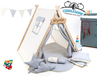 Teepee tent playhouse, best birthday gift, grey scales kids tipi tent, kids teepee with play mat, wigwam room decoration, boys fort teepee