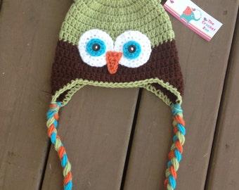 Owl Hat, Infant Owl Hat, Crochet Owl Hat, Kids Hat, Baby Boy Hat, Boy Owl Hat, Kids Owl Hat, Baby Photo Prop