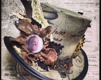 Mini Top Hat, Steampunk hat, Top hat, Gothic Lolita hat, Mad Hatter hat, Steampunk Wedding, Victorian Wedding, Ascot hat, Derby hat