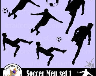 Men Soccer Player Silhouettes - EPS  and SVG Vinyl Ready digital clipart graphics 7 png and eps files {Instant Download}
