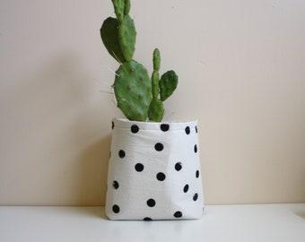 Succulent Planter / Storage Container / Polka Dot / Makeup Storage / Black and white / Storage Ideas Rustic / succulent pot indoor garden