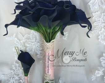 Navy Bouquet - Navy and Pink Bouquet - Navy and Blush Bouquet - Navy Calla Lily Bouquet - Navy Blue Bouquet - Navy Blue Calla Lily Bouquet