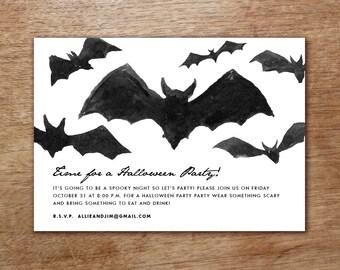 Printable Halloween Party Invitation - Instant Download - Halloween Party Invite - Black Bats Halloween Party Invite - Halloween Party PDF