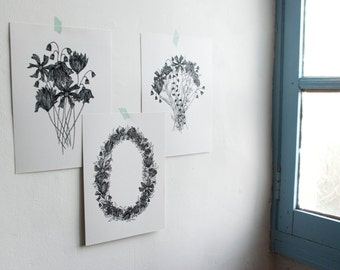 "Set of 3 illustrations ""LES FLORAUX"""