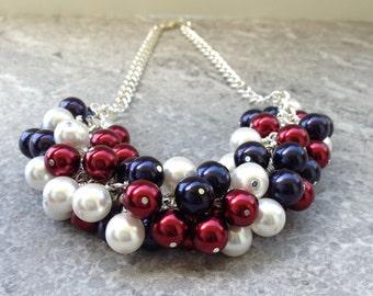 Rebekah - Patriotic Necklace, Red White Blue Necklace, Patriotic Cluster Necklace, Patriotic Pearl Necklace, Cluster Necklace