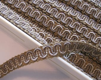 """Taupe, Dark Sand, Cream Scroll Gimp - 1/2"""" Wide -- More available"""