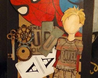 Altered tag, mixed media tag, Spiderman tag, artist tag, art tag