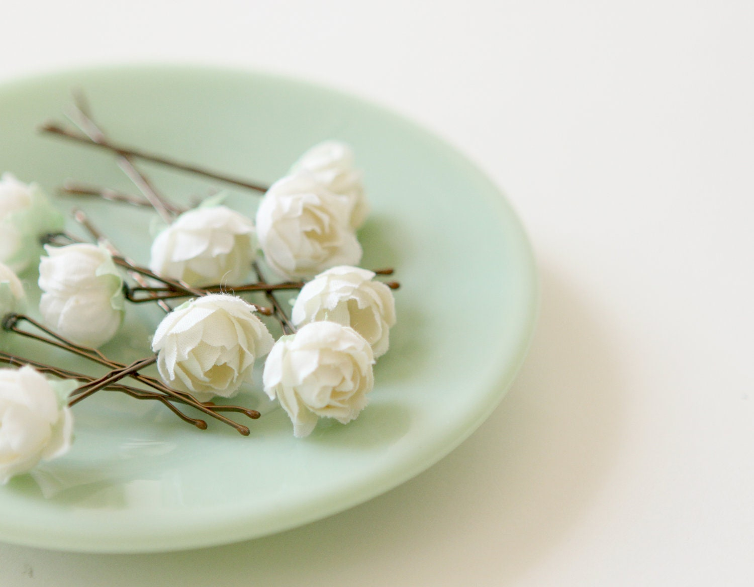 White Rose Bobby Pins Flower Hair Clips Bridal Accessory