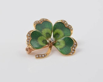 Vintage 10K Yellow Gold Enameled Shamrock Pin with Diamond and Seed Pearls