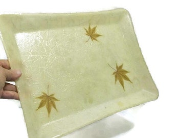 Fiberglass Serving Tray With Embedded Leaves And Sparkle Strands