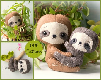 Sloth: mom and baby  (PDF Pattern)