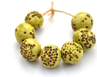 7 Textured Green / Brown Beads, Sphere & Ball Beads, Handmade Ceramic Beads, Artisan Beads, Clay Beads, Jewelry Supplies