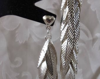 9cm silver leaf earrings