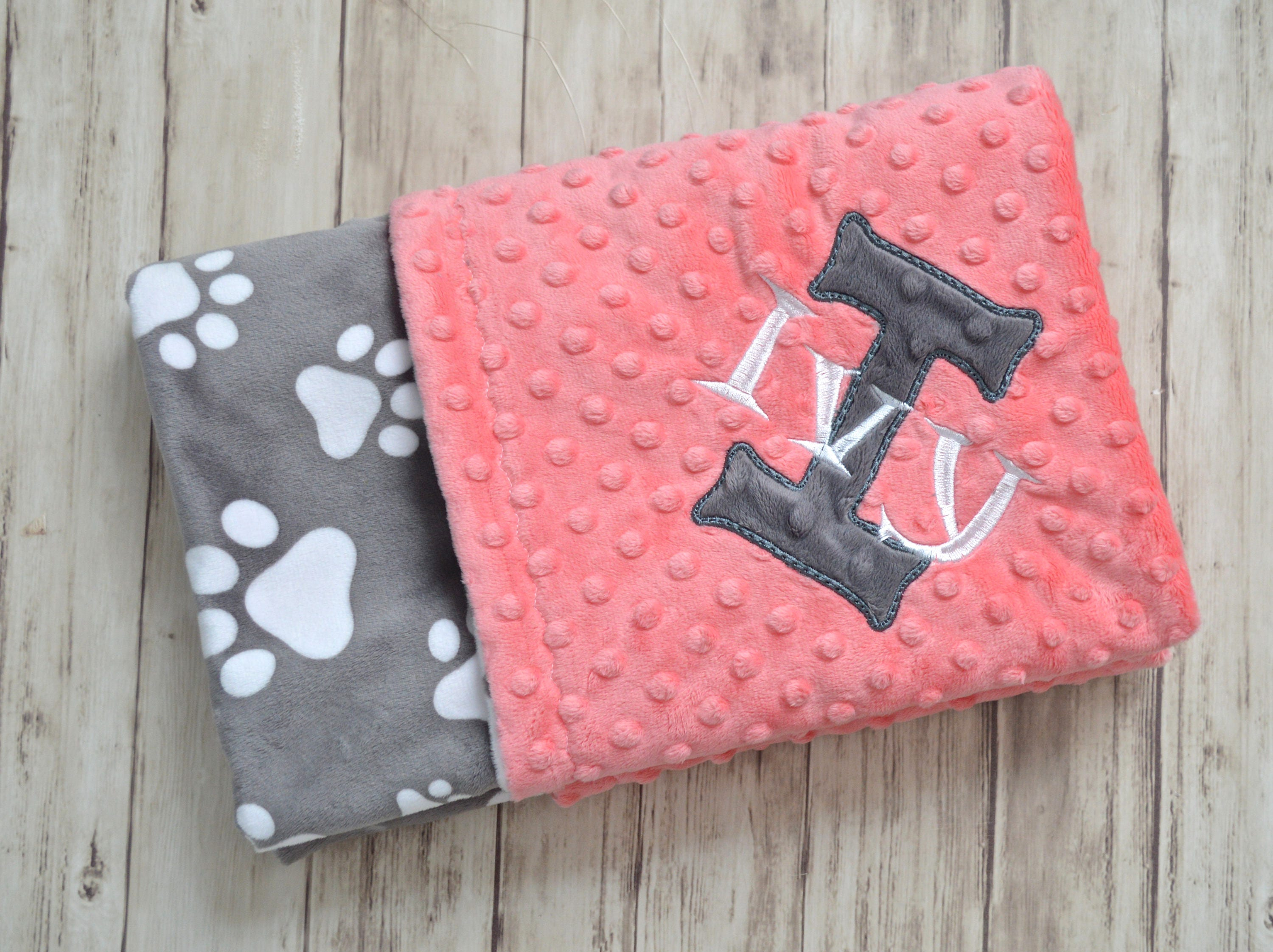 Minky baby blanket monogrammed gray paws with coral personalized minky baby blanket monogrammed gray paws with coral personalized blanket with name puppy blanket newborn baby gift custom pet gift negle Choice Image