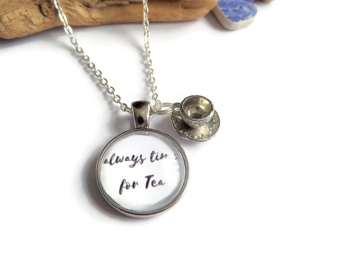Tea necklace, love tea gift, cup tea keyring, time for tea gift, cup tea bracelet, tea party gift, cup necklace, teatime gift,sandykissesuk
