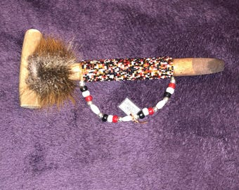 Native American Beaded Antler Pipe