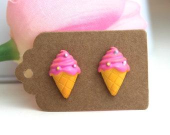 Pink ice cream earrings // kawaii earrings // cute unique earrings //